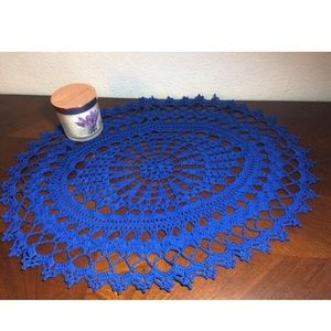 Dark Royal Blue Crochet Oval Doily